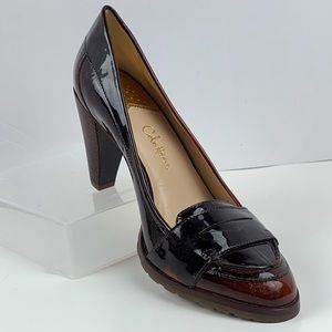 Cole Haan Nike-Air Patent Leather Penny Loafers